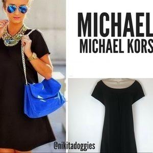 Michael Kors Solid Black Scoop Neck Shift Dress